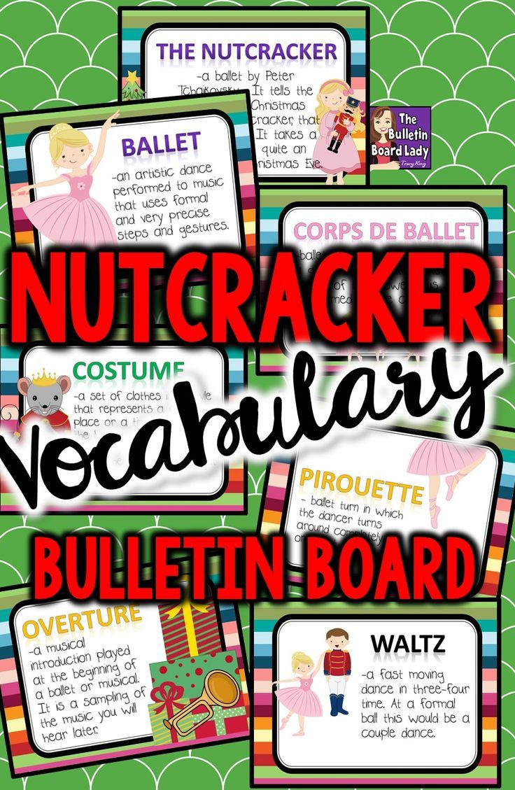 Nutcracker Vocabulary Bulletin Board is a festive and colorful way to review music terminology from the Nutcracker Ballet.  Use it as a lesson or just as a reference for your students.