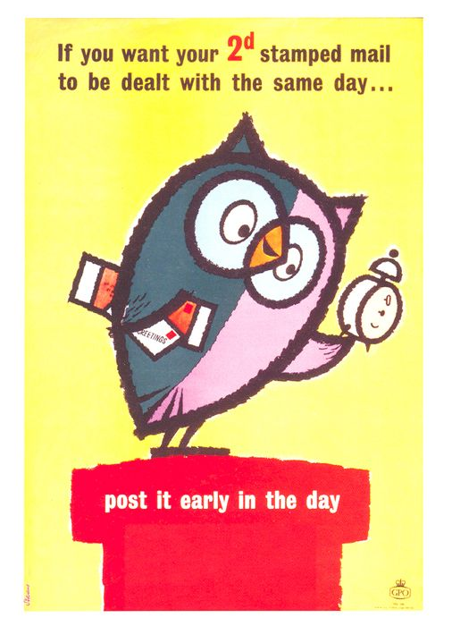 £1 - free delivery with code PINPOSTER   Post It Early in The Day by Harry Stevens (1960)