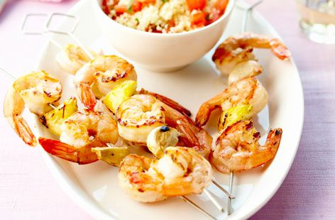 Prawn brochettes with tabbouleh