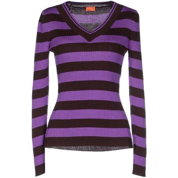 Gallo Jumper ($180) ❤ liked on Polyvore featuring tops, sweaters, purple, purple sweater, long sleeve jumper, wool sweaters, lightweight v neck sweaters and long sleeve v neck sweater