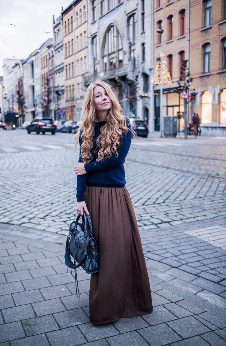 Brown maxi with navy sweater