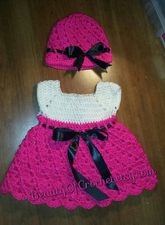 Baby girl dress and hat. Crochet baby girl set. by BeautyOfCrochet