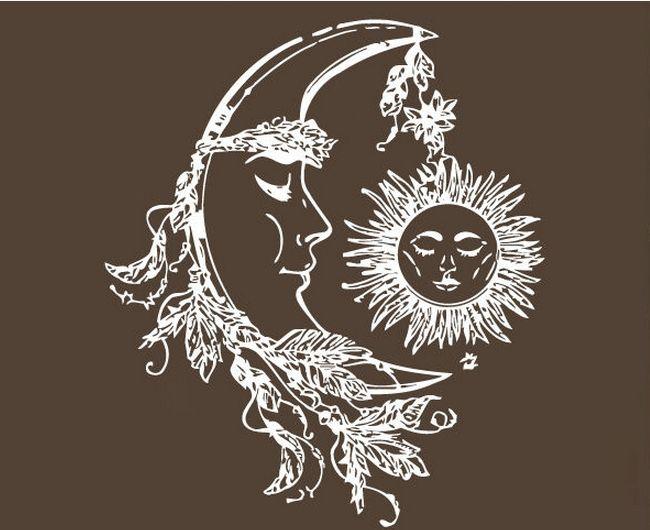 Йога Настенные Солнце И Луна Stars Night Символ Наклейка Студия йоги Искусство Стикер Стены Йога Салон красоты Декор Спальни украшения