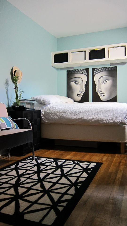 love the buddha prints, the black and white theme against the pop of color