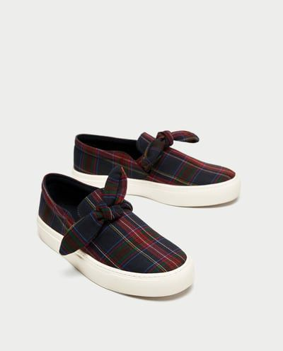 CHECKED FABRIC SNEAKER WITH BOW-NEW IN-WOMAN | ZARA United Kingdom