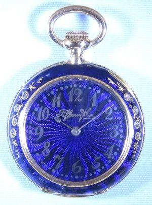 Tiffany 18K gold, diamonds and blue guilloche enamelled ladies antique pocket watch, circa 1890