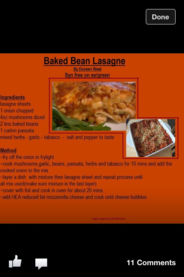 Baked Bean Lasagne Slimming World
