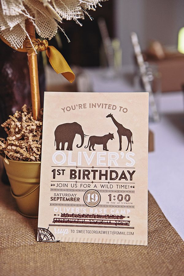 A cute invite from Three Little Monkeys Studio let guests know this was going to be a fun one. | Safari First Birthday Party | Party of 7 Photography | Sweet Georgia Sweet | @kateaspen