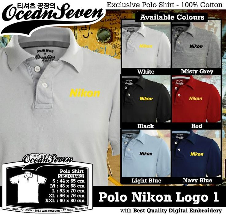 Ocean Seven - Polo Nikon Logo 1 - Sizes : S M L XL XXL - Colors : White, Light Misty Grey, Black, Red, Light Blue & Navy Blue Specification : - Lacoste 100% Cotton Combed - International standardized (Oeko-Tex, Zurich) - Cotton spandex rib - Unisex model with Bodyfit style - Digital embroidery