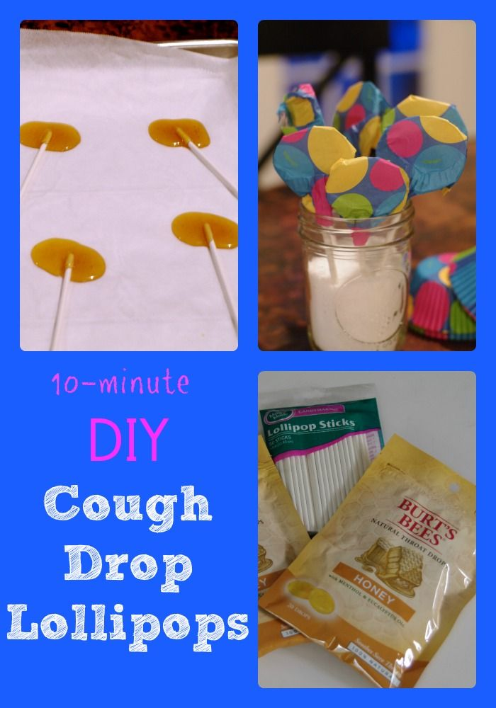 How to make cough drop lollipops in 10 minutes. Easy cough drops for little kids to soothe sore throats and coughs. DIY home remedies for colds for kids.