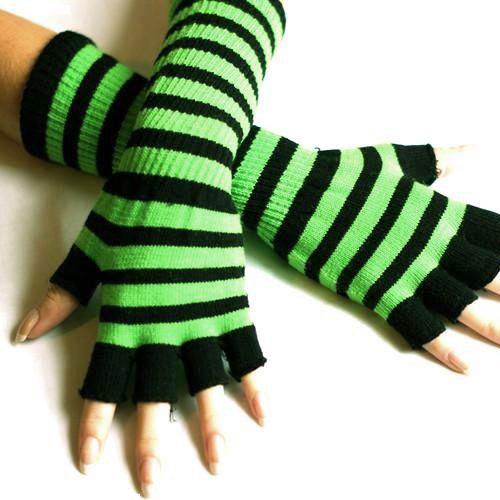 Image detail for -Black and Neon Green Striped Long Emo Fingerless Gloves - Little Black ...