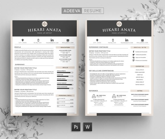 Simple Resume Template Anata by AdeevaResume on @creativemarket
