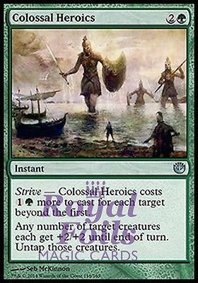 **4x FOIL Colossal Heroics* JOU MTG Journey Into Nyx Uncommon MINT green