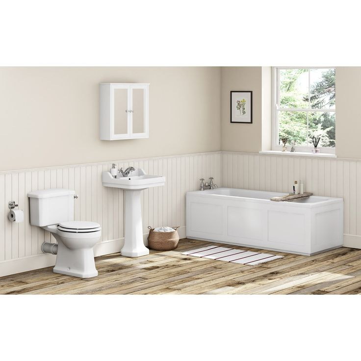 The Bath Co. Camberley white bathroom suite with straight bath 1700 x 700 - £619