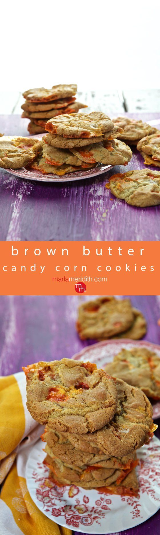 Brown Butter Candy Corn Cookies Recipe, these cookies are your go-to treat for #Halloween & fall themed celebrations! MarlaMeridith.com ( @marlameridith )