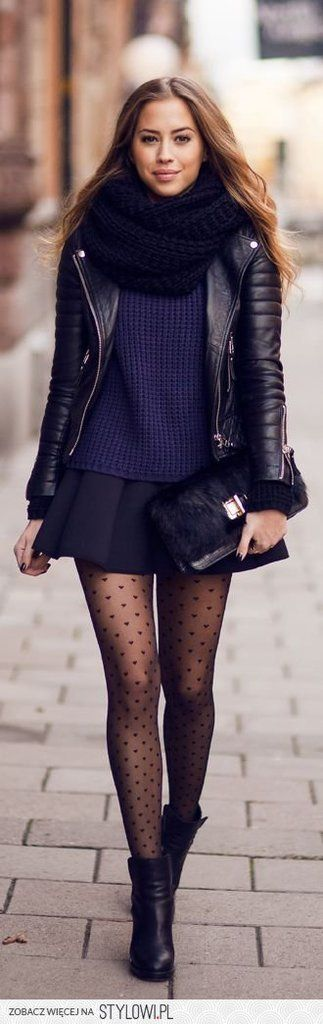 black infinity scarf + black leather jacket + navy sweater + black skater skirt + black printed tights + black booties + black clutch = perfection