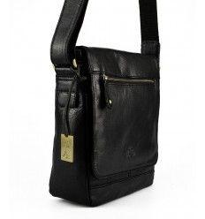 Praktisk sort taske i kraftigt kalveskind fra The Monte - 55051