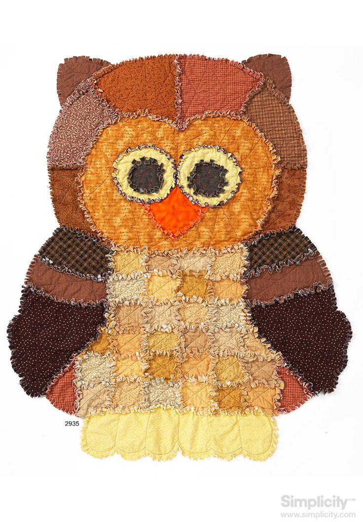 Wrap yourself up in whimsy this #fall with #SimplicityPattern 2935! - Craft this cozy and cute Owl Rag Quilt for your little ragamuffin!