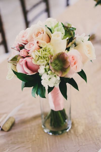 Blush bouquet with pops of spring elements: http://www.stylemepretty.com/little-black-book-blog/2013/01/23/estes-park-wedding-from-june-cochran-photography-della-terra-mountain-chateau/ | Photography: June Cochran - http://www.june-cochran.com/