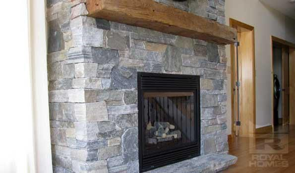 Our Lakeview model cottage fireplace