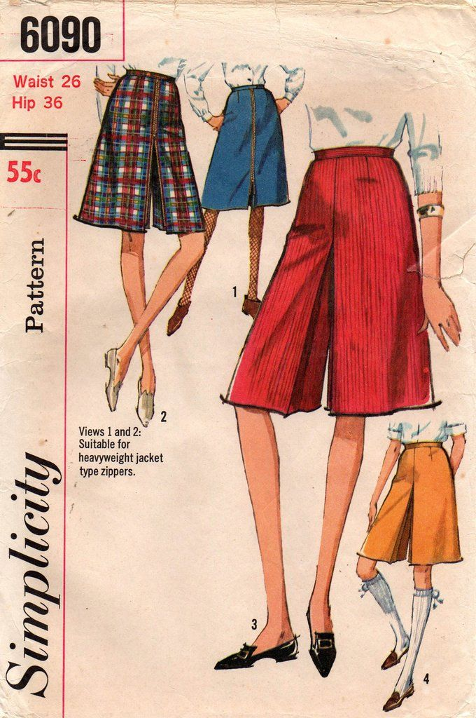 fd696504e Simplicity 6090 Womens Culottes or Divided Skirt 60s Vintage Sewing Pattern  Waist 26 Inches