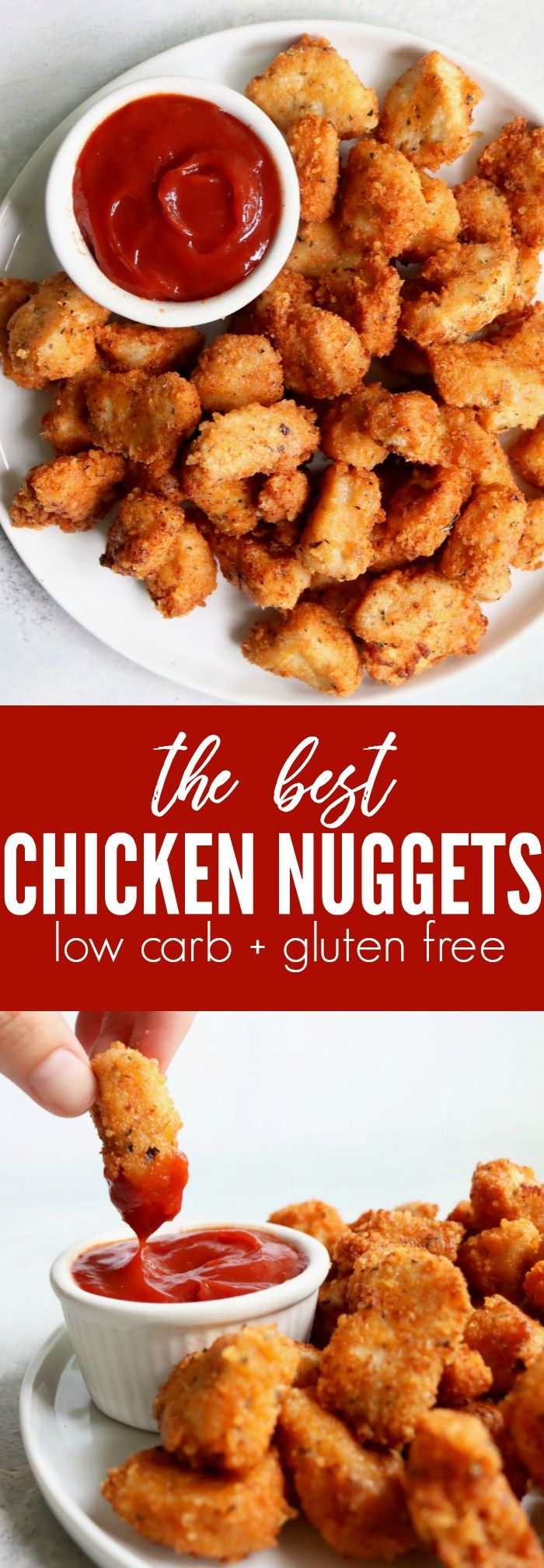 The BEST chicken nugget recipe!! Low carb + gluten free breading fried in avocado oil. Really fun weeknight dinner recipe, the whole family will love them!! family dinner | weeknight dinner | easy | healthy| thetoastedpinenut.com