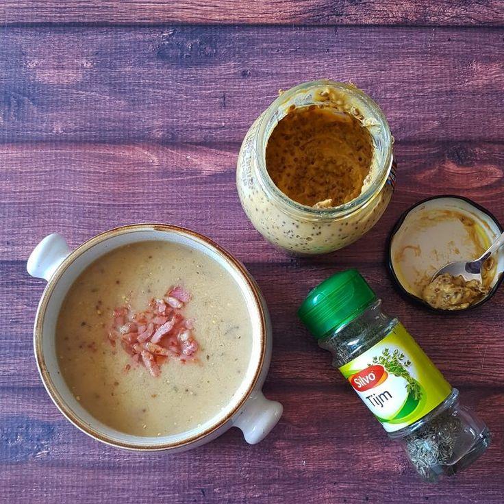 Mosterdsoep met spekjes - een makkelijk recept, je soep staat in een handomdraai op tafel!