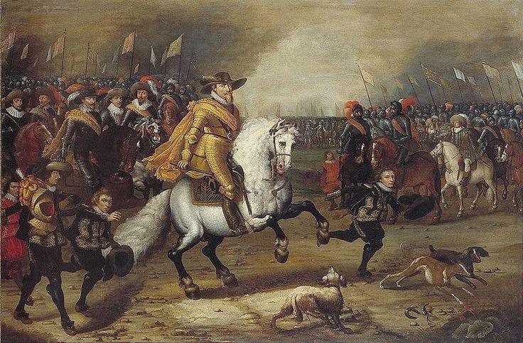 Je ziet hier de slag bij Nieuwpoort. De strijd gaat tussen Engeland en Nederland. Prins Maurits wordt door het witte paard meer in beeld gebracht en hij staat centraal.