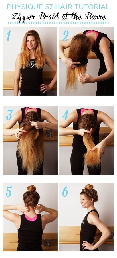 Braiding the underside of your bun/ponytail will keep loose strands from falling out during your workout.   18 Ingenious Hair Hacks For The Gym