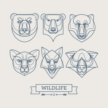 Animals linear art icons Vector illustration EPS10