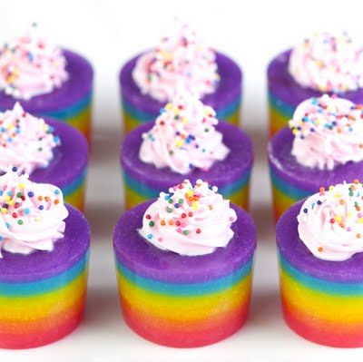 Rainbow Cake Jelly Shots: Food Colors, Cakes Vodka, Conden Milk, Cakes Shots, Jelloshot, Rainbows Cakes, Jello Shots Recipes, Rainbows Jello Shots, Jelly Shots