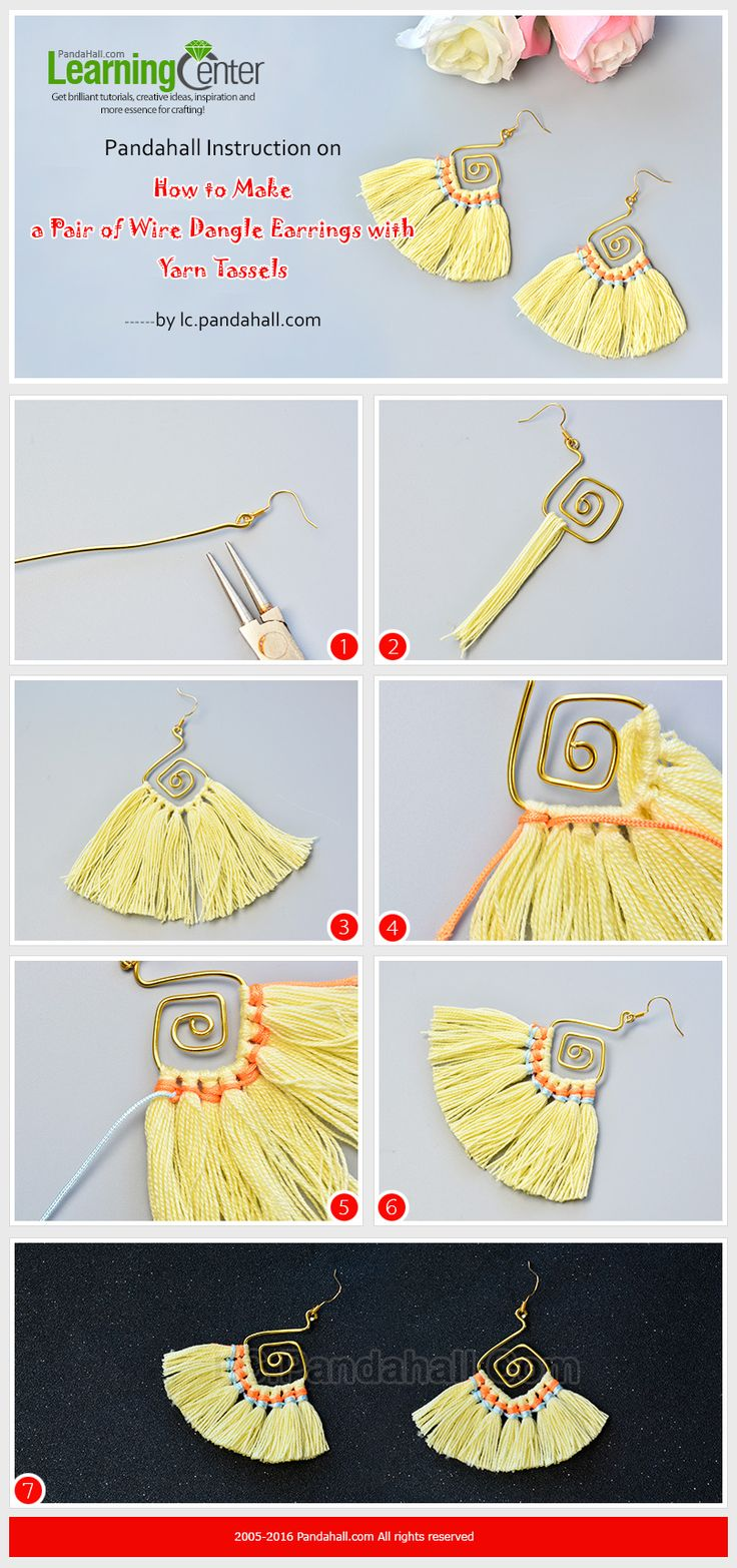 Pandahall Instruction on How to Make a Pair of Wire Dangle Earrings with Yarn Tassels from LC.Pandahall.com #bisuterias #Bisuteriademoda #bisuteria #pulsera #pulseras #collares