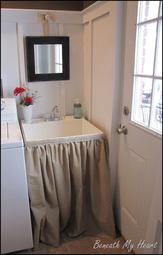D.I.Y. Laundry Tub Sink Skirt <- I need to do this! I would just be afraid that there was spiders lurking..