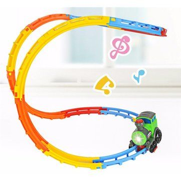 Only US$19.99, buy best DIY Electric Car Racing Track  Light Music Creative Roll Fancy Car Toy Train Electric Toys sale online store at wholesale price.US/EU warehouse.