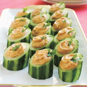 Easy (But Fancy) Finger Foods | Red Pepper Hummus in Cucumber Cups | AllYou.com