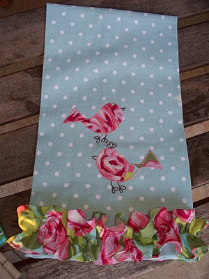 Bird applique tea towel