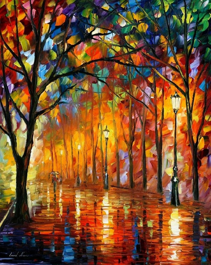 Nice, and it looks so easy!  Just a dab here and a dab there.  Ha!: Paintings On Canvas, Oil Paintings, Art, Desirable Moments, Knife Oil, Palette Knife, Leonid Afremov, Canvases