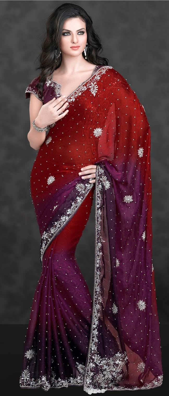 #Red and Wine #Chiffon #Silk #Saree with Blouse @ $298.10 | Shop Now @ http://www.utsavfashion.com/store/sarees-large.aspx?icode=ssl1750