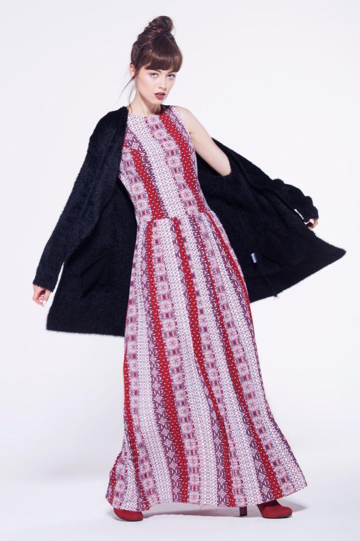 furelle #totallook #fashion #newarrival #autumn #dress #long #aztecpattern #fullcolour