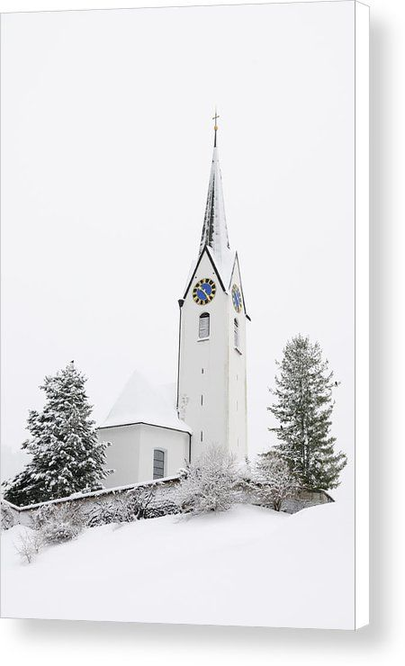 Minimalist Church in winter Canvas Print for sale. Serene and peaceful sacred architecture. Parish church St. Anna in Hirschegg in the snow, Kleinwalsertal valley, Austria. The image gets printed on one of our premium canvases and then stretched on a wooden frame, click through and check out your options. 30 days money back guarantee. Matthias Hauser - Art for your Home Decor and Interior Design.