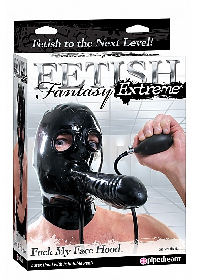 Latex mask with blow up dildo