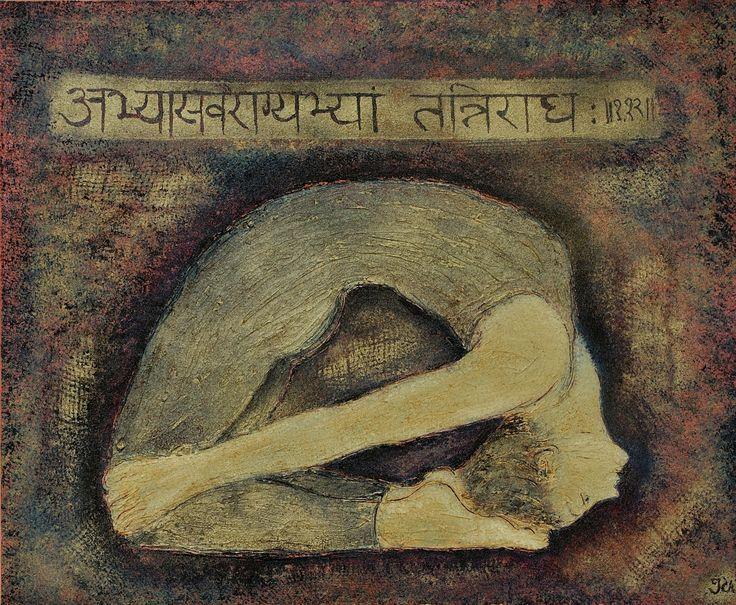 Laguvajrasana painting, Sutra Abhyasa Vairagyabhyam Tannirodhah, mixed media on canvas, sold