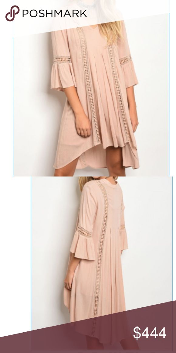 Nude Boho Chic Bell Sleeve Dress Made in the beautiful USA.  100% rayon.  Light and flowy-perfect date night dress.  Small, medium and large available.    TAGS: #neutral #datenight #bellsleeve #fallfashion #dress Dresses