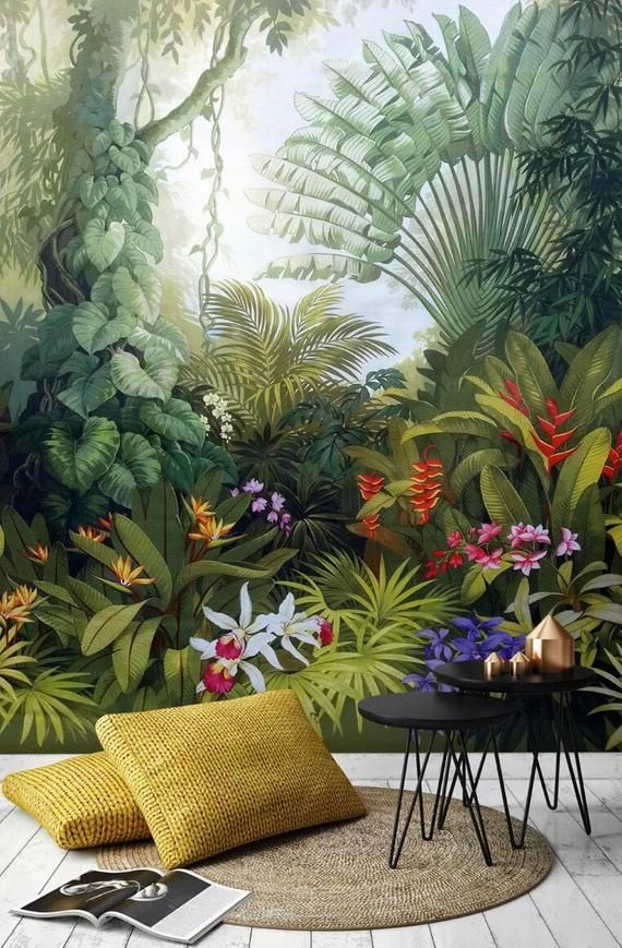 3D Tropical rainforest, Lush vegetation, Palm leaves Wallpaper, Removable Self Adhesive Wallpaper, Wall Mural,Vintage art,Peel and Stick