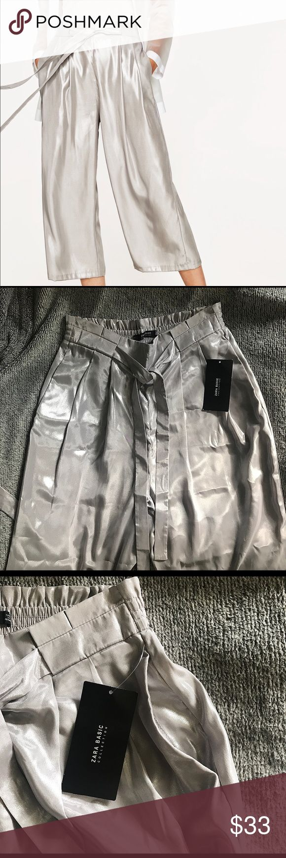 BNWT | ZARA HIGH WAIST CULOTTES | SILVER TROUSERS BRAND NEW WITH TAGS | ZARA CULOTTES WITH PLEATS  | HIGH WAIST TROUSERS | WITH POCKETS & BELT | I HAVE SIZE XS & S | SILVER METALLIC SHEEN COLOR | SUPER CHIC Zara Pants Trousers
