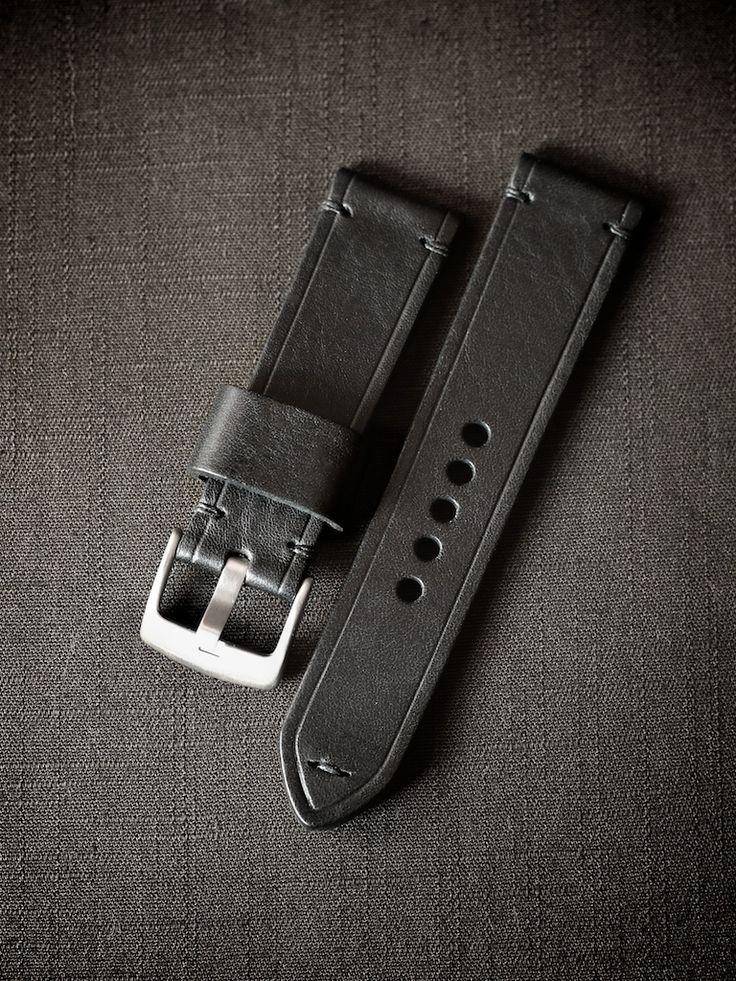 "Meet ""Belarus"", a handsome black handmade tapered leather watch strap"