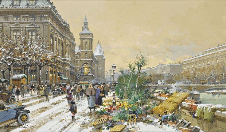 Цветочный рынок на Сене и консьержка (26 х 46 см). Eugene Galien-Laloue