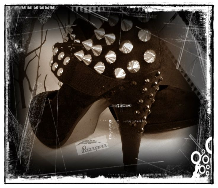 Papagena - handmade zone Heels with studs, gothic shoes, alternative shoes