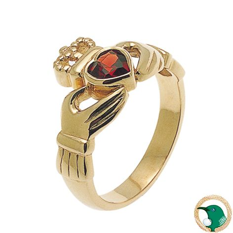 Our Celtic Claddagh ring featuring a 5mm heart shaped garnet.