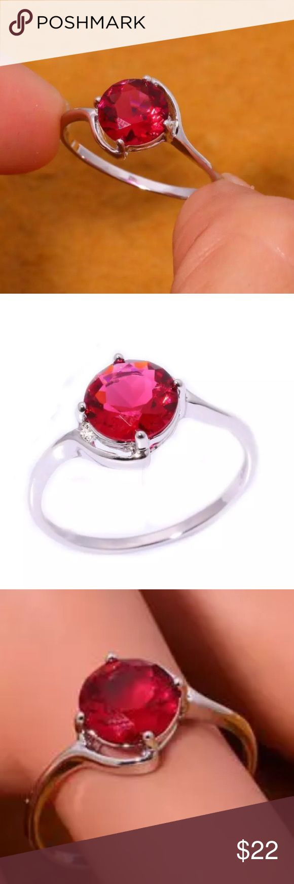Simple Red Kunzite Gemstone & Silver Filled Ring Simple red Kunzite gemstone and silver filled ring. Size 8. Gemstone size is 10mm. Please see photo #6 for information on silver filled vs. silver plated. Huajewelry Jewelry Rings